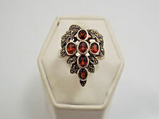 Vintage Sterling Silver Marcasite & Rhodolite Garnet Grape Cluster Ring, sz 6.75