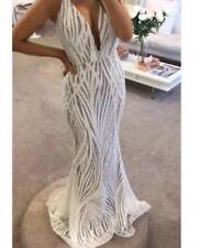 Jadore V Neck Sequin White Wedding Dress Size 10