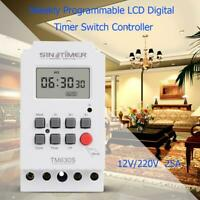 7 Day Weekly Programmable LCD Digital Timer Switch Controller Setting Clock