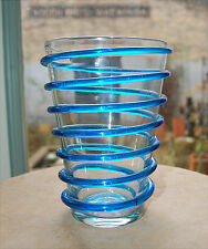 BLENKO Art Glass Handblown VASE Turquoise & Clear Spiral Helix Pre Designer Era