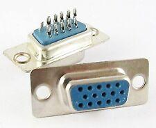 Lot de 2 connecteur à souder HD15 VGA femelle / 2x VGA solder connector female