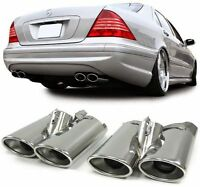 DOUBLE TIP AMG STYLE SPORT EXHAUST PIPE TRIMS ENDS FOR MERCEDES W220 S CLASS