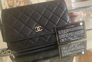 Chanel WOC Wallet on Chain Schwarz Lammleder Edel Elegant Coco Silber Hardwear