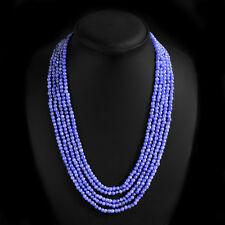 BEAUTIFUL FASHION 311.00 CTS NATURAL 5 LINE BLUE SAPPHIRE ROUND BEADS NECKLACE