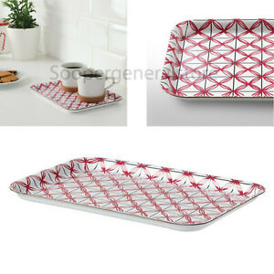 Christmas Serving Food Tray Red Plastic Drinks Kitchen Platter 20cm x W28cm Ikea