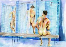 """PRINT of Original Art Work Watercolor Painting Gay Male Nude """"Locker room"""""""