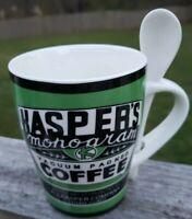 Kasper's Monogram Vacuum Packaged Coffee Mug / Cup w/ Spoon ceramic
