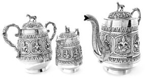 Exceptional Swami / Indian Raj Period Silver Tea Service From Madras ca. 1860
