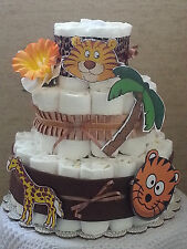 3 Tier Diaper Cake Jungle Safari Zoo Animals Baby Shower Gift Centerpiece