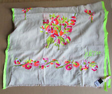 """Juicy Couture Scarf Floral Embroidery Neon Colors 76"""" x 28"""" Cotton Blend NWD"""