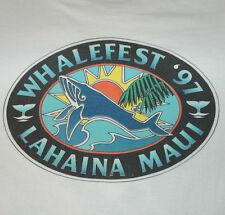 Rare Vtg WHALE FEST MAUI T Shirt RETRO LOGO 90's Colorful TEE Hawaii ECO Sun