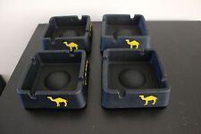 Camel Square Matte Black Ashtray Ceramic / Glass, Set of 4, New in box