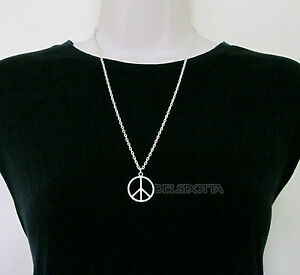 FANCY DRESS PEACE SIGN NECKLACE 24 INCH CHAIN HIPPY 1960s ACCESSORIES JEWELLERY3