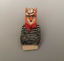 Hipster Fox Brooches Pin Printed Cartoon Acrylic Brooch Gift Accesories