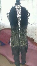 LUXE HUGE SILVER FOX Fur boa Stole Double Pelt Black vintage wrap scarf shawl