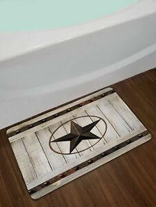 Western Texas Star Rustic Wood Barn Floor Rug Non-skid Door Bath Mat Home Carpet