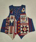 Women's Vest Patriotic USA American Flag Fireworks Uncle Sam Red White Blue MED