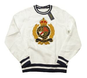 Polo Ralph Lauren Men's White Embroidered Crest Graphic Fleece Lined Sweater
