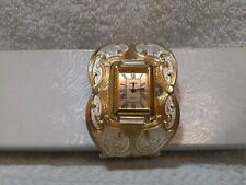 Montana Silversmith Watch Cuff Watch Silver Gold Engraved Clear New Battery EXE