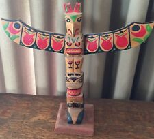 "Wood Carved Totem Pole Native American - 10"" T - Red, Black, Green, Brown"