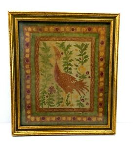 "Bird Folk Art Framed Fabric Art Rust Green Yellow 10 3/8"" x 12"" Primitive"