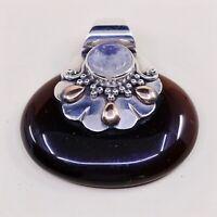 Vintage Sterling Silver Handmade Pendant, 925 With Oval Carnelian N Moonstone