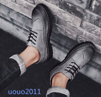 Mens Lace Up Carved Brogue Wing Tip Flats Retro British Oxfords Casual New Shoes