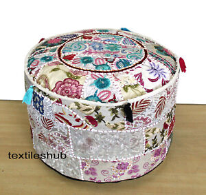 New Indian Vintage Handmade White Round Ottoman Pouf Cover Patchwork Footstool