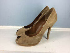 Zara Woman Brown Suede Leather Peep Toe Heel Ruched Excellent 39 8 Cocktail
