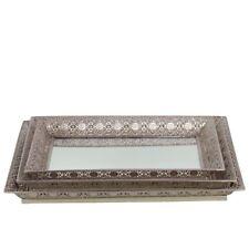 Urban Trends Metal Square Trays w/Pierced Metal Frame & Mirror Set of 3, Silver