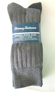 New  A 4-pack TOMMY BAHAMA Casual Crew Dress Socks  2 Gray 2 Blue w/Fish Logo