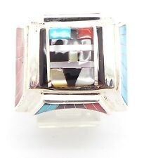 Zuni Sterling Silver Multi-Stone Inlay Sun Face Ring Size 9.5 Don Dewa