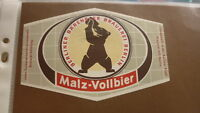 OLD GERMAN BEER LABEL, BRAUEREI BARENBIER BERLIN GERMANY, MALZ VOLLBIER