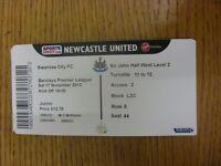 17/11/2012 Ticket: Newcastle United v Swansea City  . Footy Progs/Bobfrankandelv