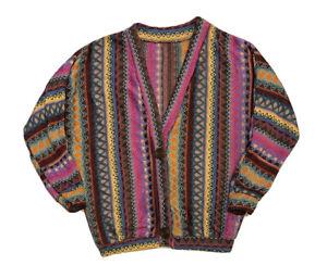 Vintage Colorful Women's Long Sleeve COOGI-Like Cardigan Sweater Sz S
