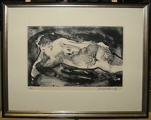 Brenda Horowitz Rare '72 Modernist Monotype of Nude Woman Listed Provincetown