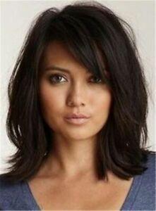 100% Human Hair!Loose Messy Lob Medium Wave Hair With Bangs Capless Wigs