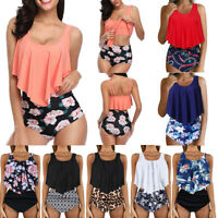 Womens Two Pieces Bathing Suit Print Top Ruffled With High Waist Bottom Bikini