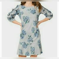 Westport rayon blend floral knit shift dress gray blue ruffle sleeve scoop XL