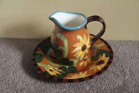 Droll Designs Pitcher platter sunflower Flower plate tea water jug floral art