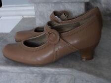 Hotter Charleston Flapper luce di ispirazione vintage in pelle Marrone Chiaro Scarpe Mary Jane 4.5