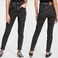 LEE Vintage Modern High Rise Skinny Jeans Size 30 Acid Wash Black Retro NWT $98