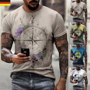 Herren 3D Print T-Shirt Slim Fit Kurzarm Muscle Tee Rundhals Fitness Tops M~2XL
