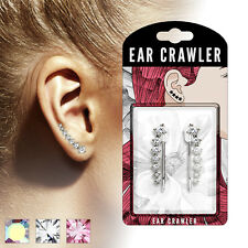 PAIR OF PRETTY EAR CLIMBER  WITH GRADUATED ROUND SOLITAIRE CLEAR CRYSTAL CZ