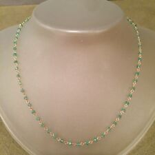 Emerald Gemstone Necklace Faceted Gems 14k Yellow Gold Wire Wrapped Chain