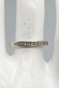 Estate $1500 .33ct SI1 H Diamond Platinum Wedding Band Ring