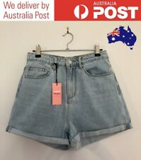 CLASSIC 90S MOM SHORTS - CUTE LIGHT BLUE DENIM - SUPRE SIZE 10 - (NEW WITH TAGS)