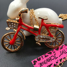 Betsey Johnson Red Enamel Crystal Lovely Bicycle Bike Pendant Necklace Chain