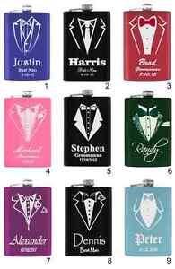 6oz Groomsmen, Groom, Father of the Bride Groom Tuxedo Flask Choice of Design