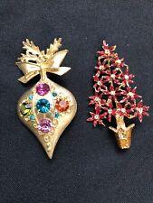 Lot of 2 Vintage Retro Holiday Pin Brooch Christmas Ornament Poinsettia Tree